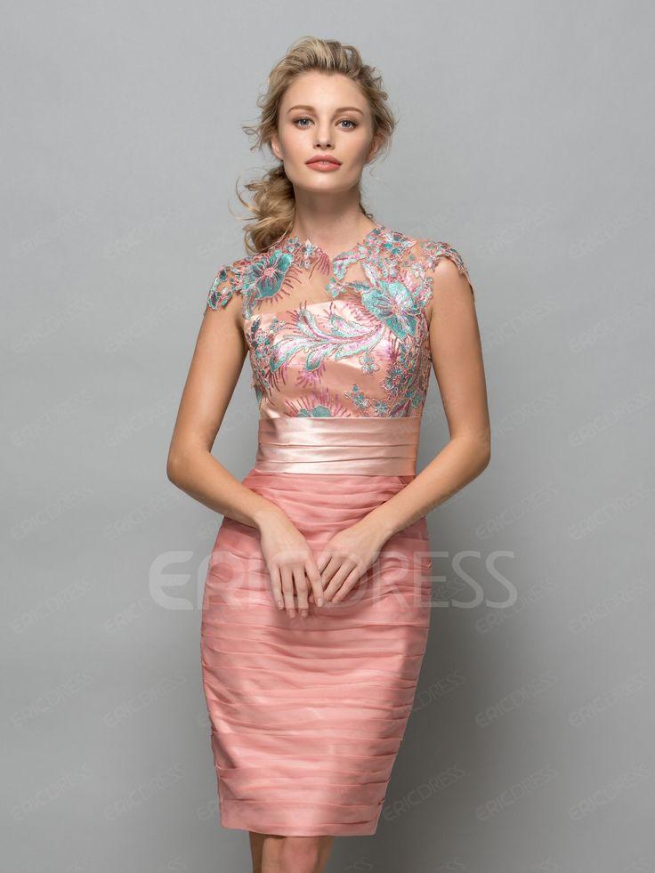 ericdress.com offers high quality  Ericdress Sheath Cap Sleeves Sequins Pleats…