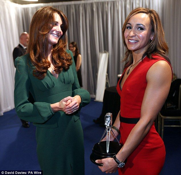 The Duchess of Cambridge in a bottle green Alexander McQueen dress and Jessica Ennis in a red Victoria Beckham dress. Jess Ennis has a great bum!
