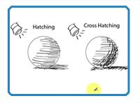 Hatching and cross hatching drawing techniques head