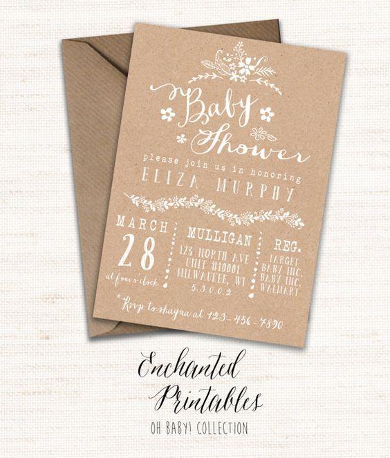 -LIKE- Kraft Bridal Shower Invitation Template, Rustic Printable Wedding Shower…