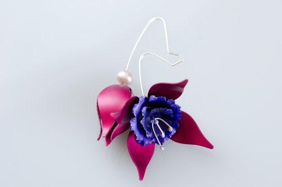 Asymmetrical Fuchsia Earrings With Pearls by MetalMythStudios