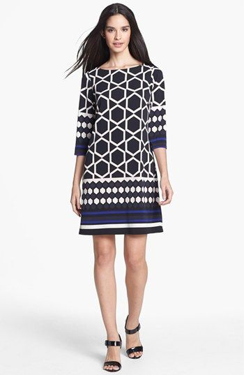 Eliza J Border Print Jersey Shift Dress | Nordstrom