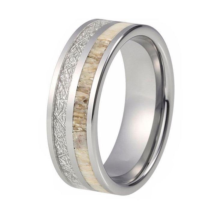 Mens Deer Antler Ring Tungsten Wedding Band With Meteorite Imitation Inlay #Band