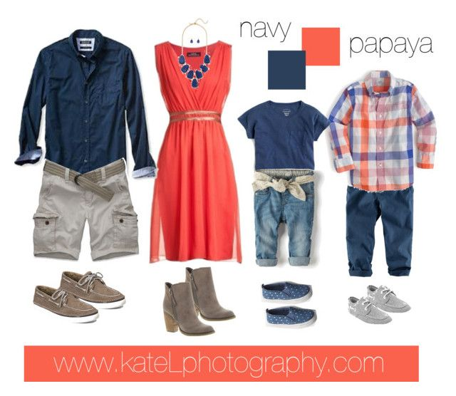 Papaya + Navy family outfit inspiration: what to wear for a family photo session in the spring or summer. Created by Kate Lemmon, www.kateLphotography.com