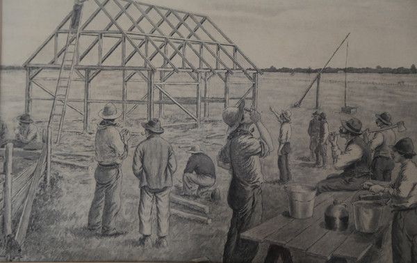 Barn Raising sketch by Edmond Massicotte