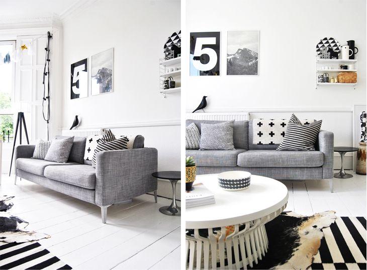 Voici le canapé-lit KARLSTAD, ici avec housse Isunda grise.