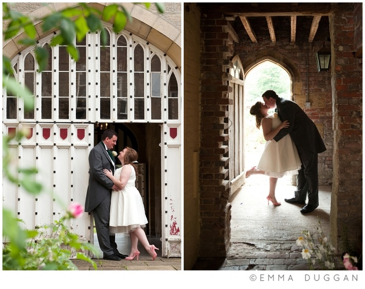 Bride & groom in the courtyard at Chiddingstone Castle