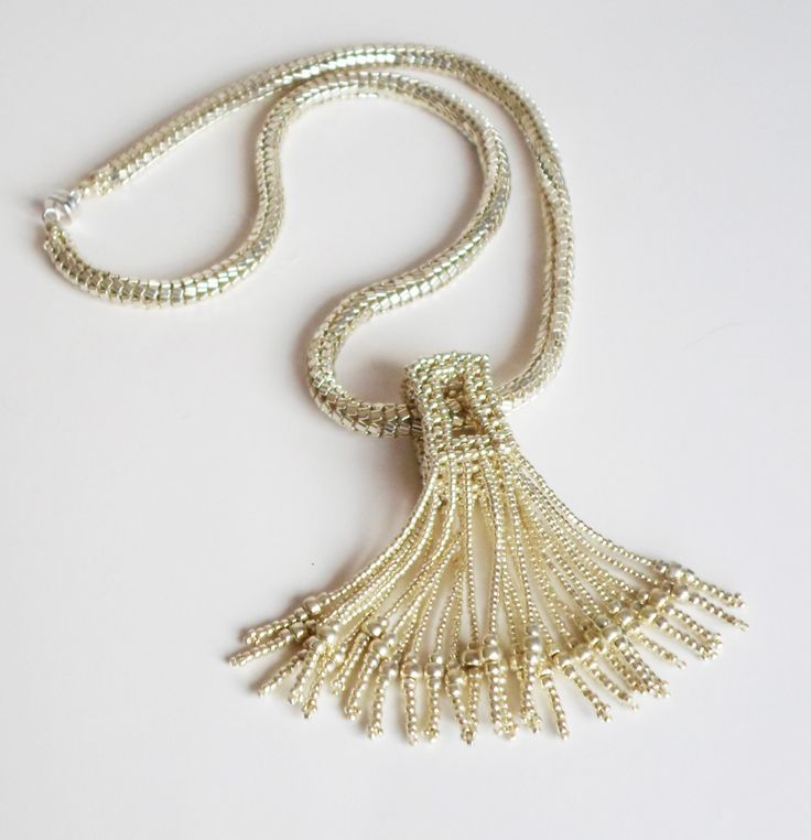 3068 Silver necklace with tassel pendant $170  by Darlene Pfahl