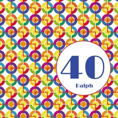 Farbenfrohe 80er Jahre Einladungskarte Zum 40. Geburtstag Mit Muster Aus  Bunten, Grafischen