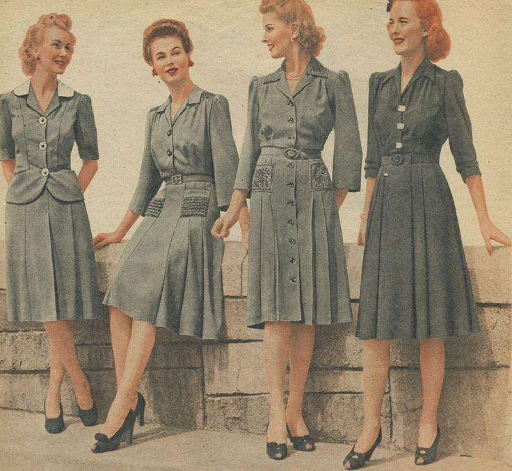 "Day dresses: note the air force blue / slate grey colour. Women's fashions often echoed uniforms during the war years. It was a way of saying ""we're at war too"" and ""we're supporting the boys at war."""