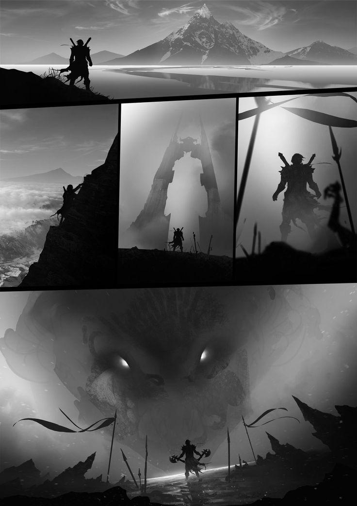 Dragon Hunter, Toby Lewin on ArtStation at http://www.artstation.com/artwork/dragon-hunter