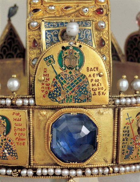 Detail view of The Holy Crown of Hungary also known as Crown of St. Stephen, 11th-12th century.