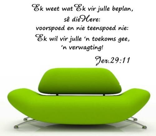 BYBEL VERS JEREMIAH 29:11 (AFRIKAANS) INSPIRATIONAL BIBLE VERSE WALL ART STICKER EXTRA LARGE VINYL DECAL – Vinyl Lady Decals