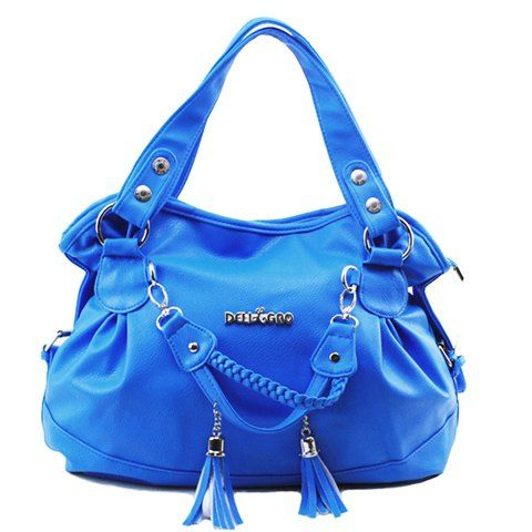 Fashion Women's Shoulder Bag With Tassels and Solid Color Design