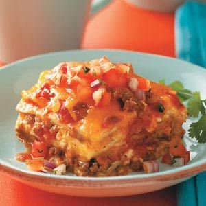 Beef Enchilada Lasagna Casserole Recipe