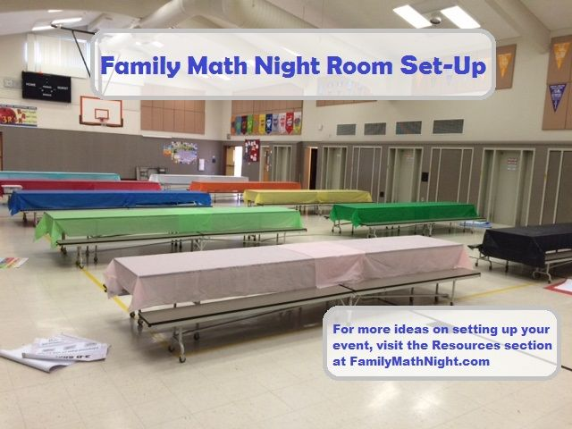 I like to use colorful tablecloth when setting up for my Family Math Night events.  It makes the room look festive and inviting!