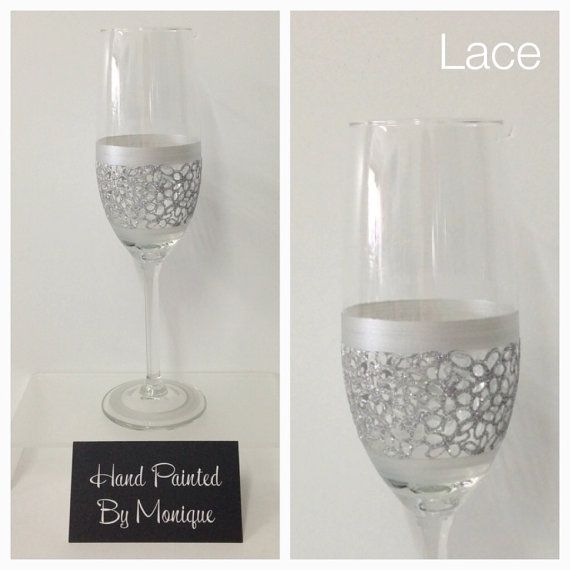 Hand Painted Champagne Flute Glass  Lace  Just by InaSpinNiquesWay, $22.50