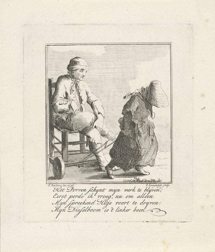 Man op stoel met wieltjes voortgetrokken, Pieter Langendijk, 1727 - 1756