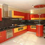 red classic kitchen set