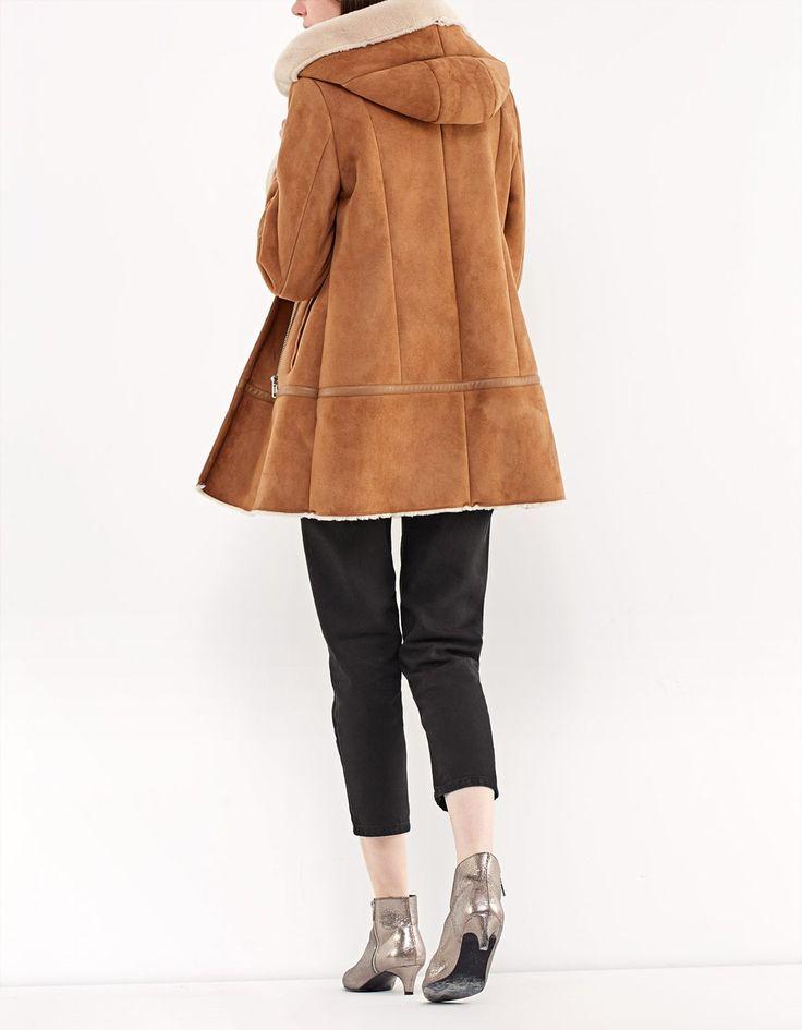 Abrigo capucha doble faz