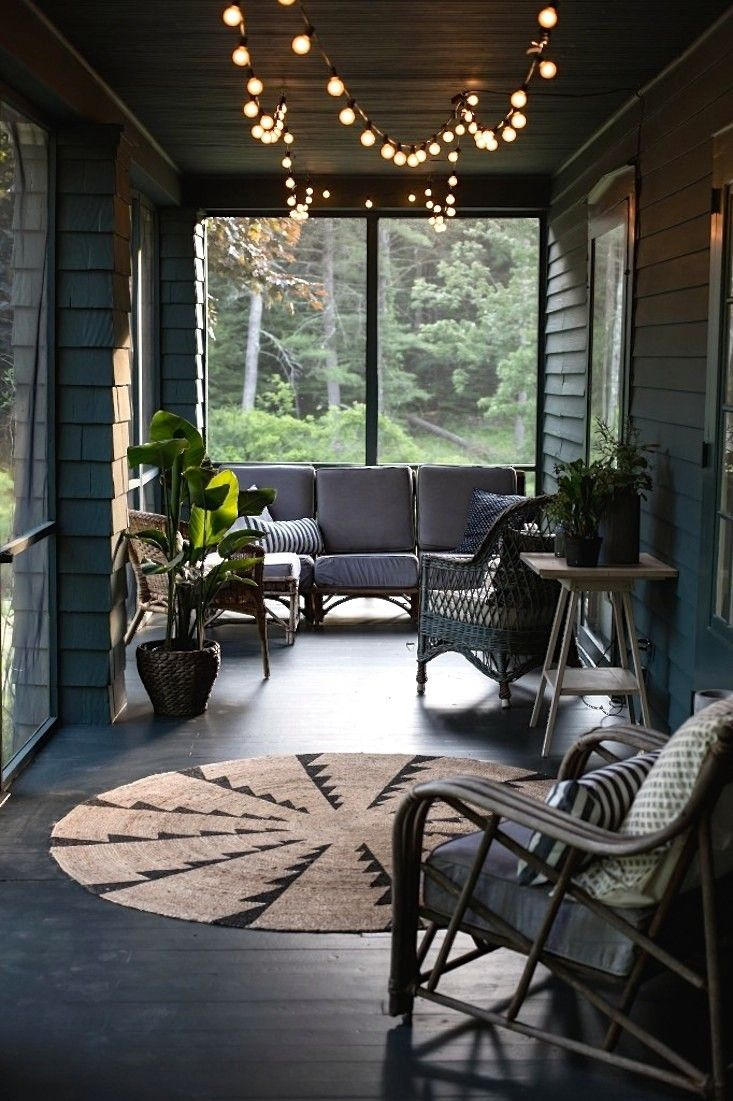 How To Hang String Lights On Screened Porch : Jersey Ice Cream Co. screened porch in the Catskills Remodelista design: screened porch ...