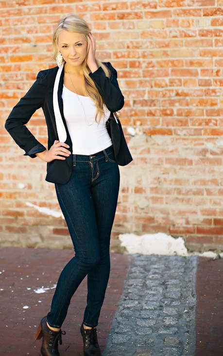 Fall Style: Chloe Shoes, Skinny Jeans, Tuxedo Blazer, Aztec Earrings, cute outfit available @Ooh La Loft