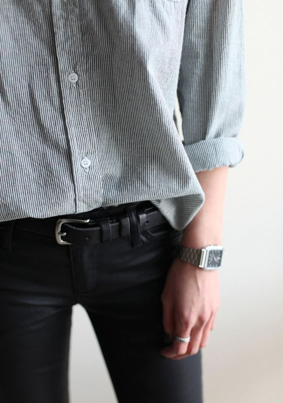 Stripe shirt and black pants