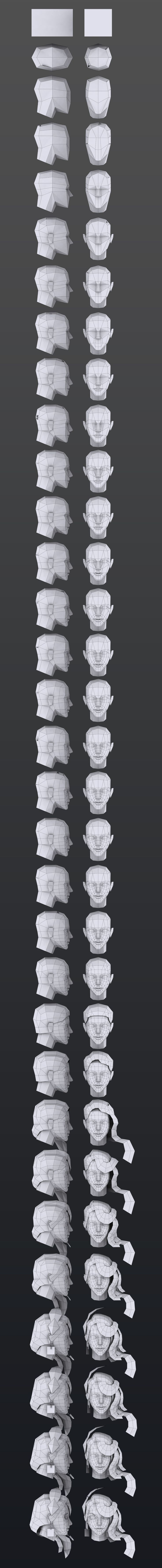 The process of creating a 3D head from basic primitives to detail! Extremely…