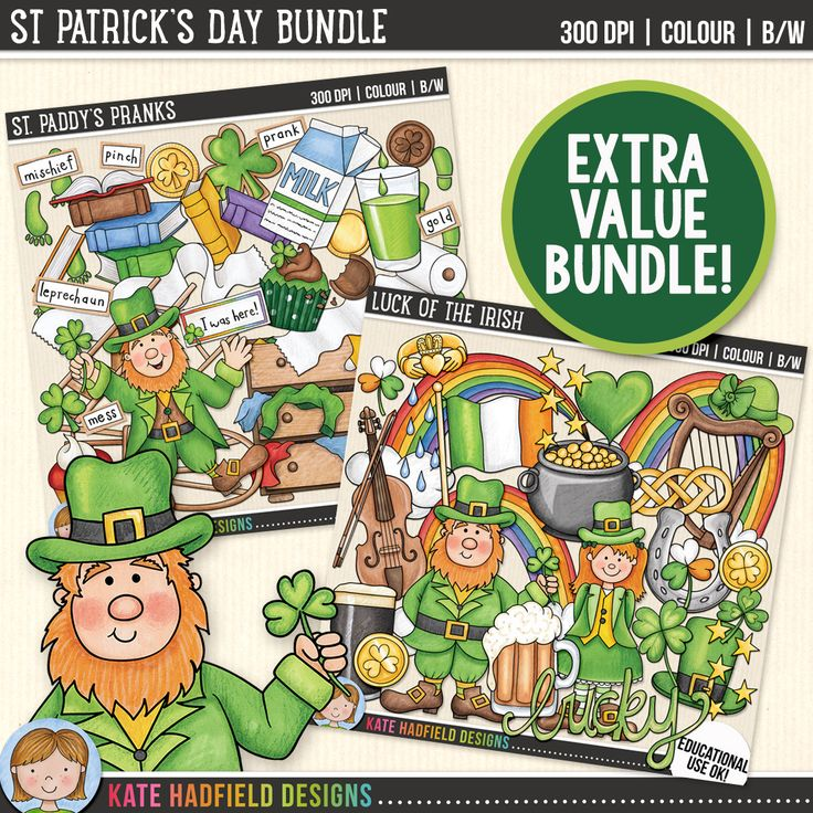 St Patrick's Day Clip Art Bundle! Cute leprechaun clipart for teachers | contains coloured clipart and black and white outline versions | hand-drawn illustrations from Kate Hadfield Designs at Teachers Pay Teachers