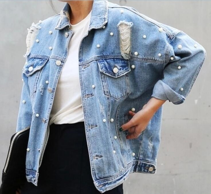 Womens Long Sleeves Denim Jeans  Jackets Spring Ripped Hole Style Bead Coats