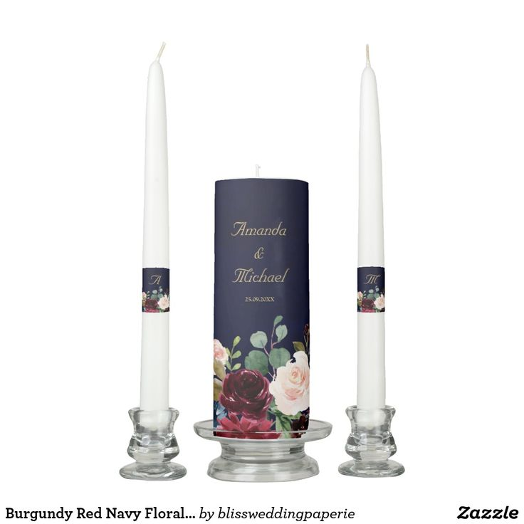 Burgundy Red Navy Floral Rustic Boho Unity Candle | Zazzle.com