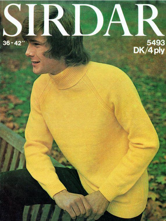PDF Vintage 1970s Men Knitting Pattern Polo Neck Jumper