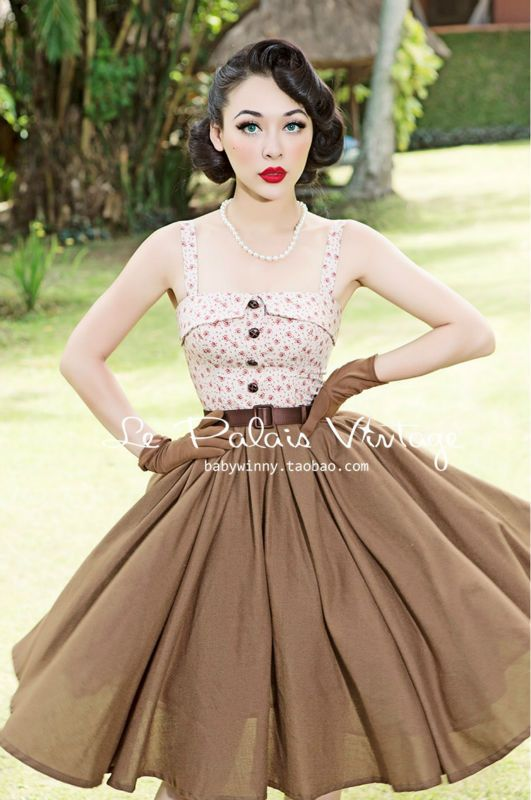 FREE SHIPPING Le Palais Vintage PIN UP ultra small Vintage Floral stitching color large swing print dress