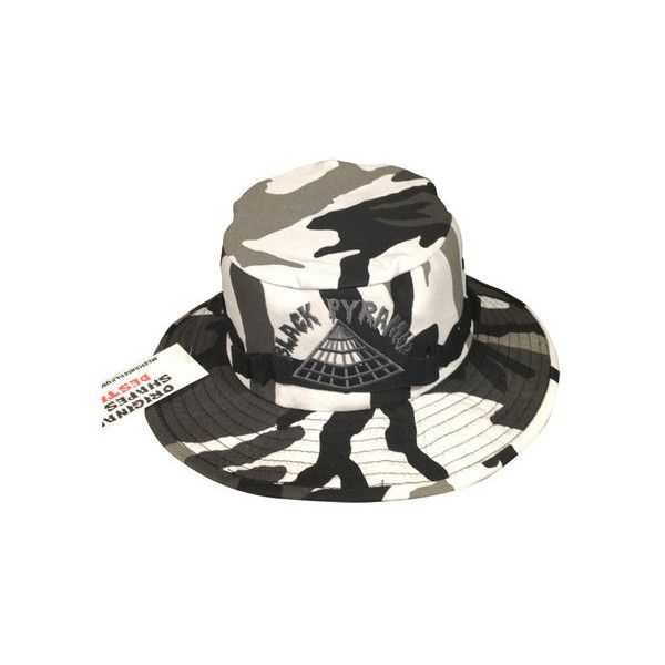 Black Pyramid Camo Bucket Hats ❤ liked on Polyvore featuring accessories, hats, camouflage fisherman hat, bucket hat, black fisherman hat, fisherman hat and black bucket hat