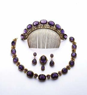 Empress Josephine also had jewelry made for her by Jean-Baptiste Mellerio, such as this amethyst parure.