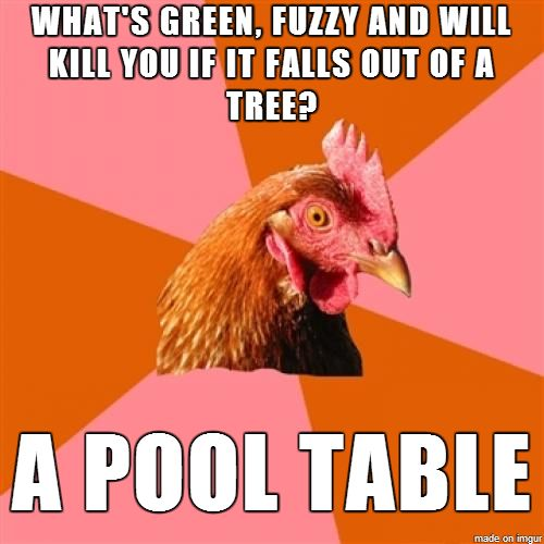 haven't seen an anti-joke chicken in a while.