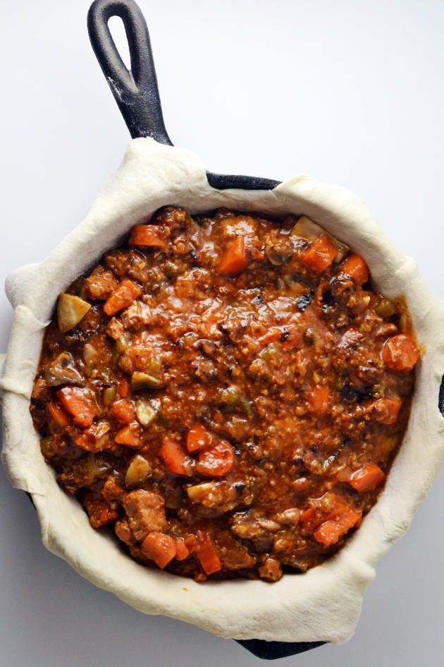 Steak and Ale Pie bakes in a cast iron skillet. All you need for dinner in one pan.