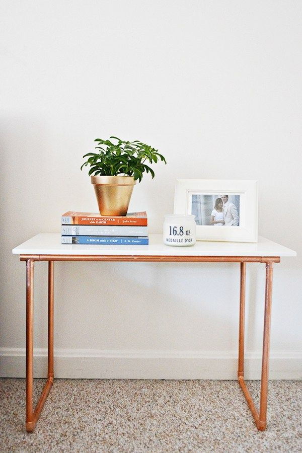 marble + copper pipe side table
