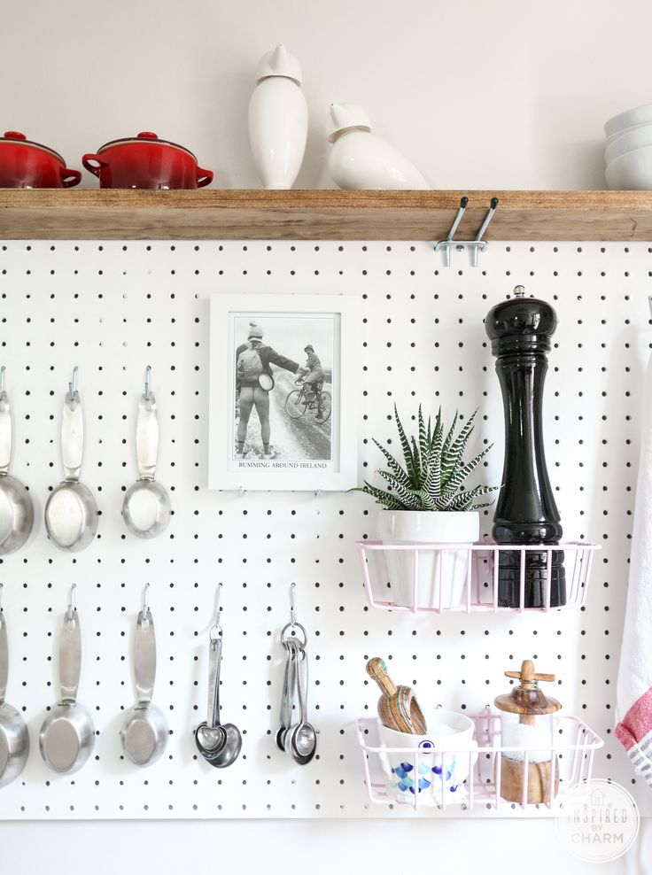 Adding pegboards to your kitchen instantly adds so much space — no longer will your pepper grinder and mortar and pestle take up endless counter space, and your drawers will thank you for moving the measuring cups. See the full pegboard at Inspired By Charm. MORE DIY: 10 Easy DIYs That Will Make Spring Come Quicker   - ELLEDecor.com