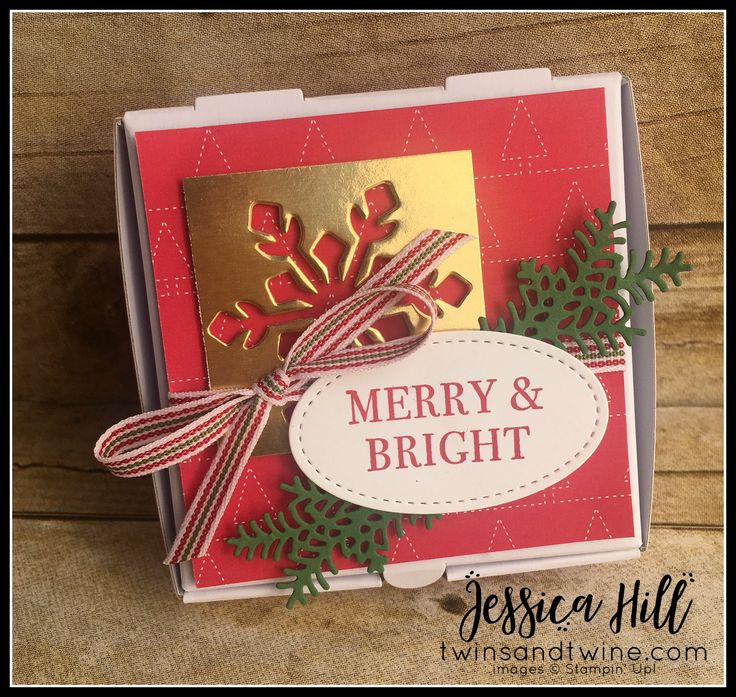 ready for christmas, stampin up, holiday catalog, real red, gold, whisper white, mini pizza box, gold foil