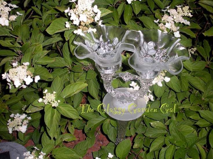 Glass Bird Bath, Glass Garden Art, Yard Art, Repurposed Recycled Up Cycled  Glass