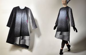 Long Coat - 1 Description: Hand loomed, dyed, felted, wool Dimensions: H:0.10 x W:0.10 x D:0.10 Inches