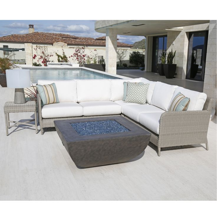 outdoor sunset west manhattan aluminum sectional sofa with cushion
