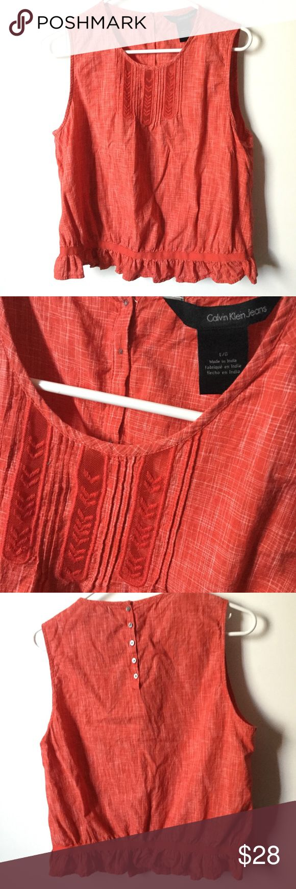 Calvin Klein Jeans Blouse Like condition, some loose thread on embroidery. Calvin Klein Tops