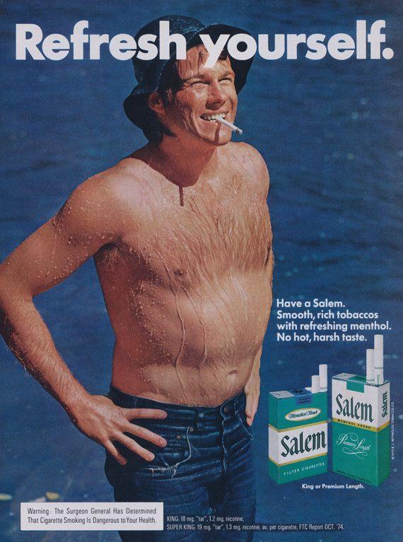 1975 Salem Cigarettes Ad Refresh Yourself 70s Man By AdVintageCom