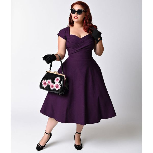 Stop Staring! Plus Size Mad Style Eggplant Cap Sleeve Swing Dress ($172) ❤ liked on Polyvore featuring plus size women's fashion, plus size clothing, plus size dresses, purple, purple vintage dress, plus size cocktail dresses, women plus size dresses and vintage pin up dresses