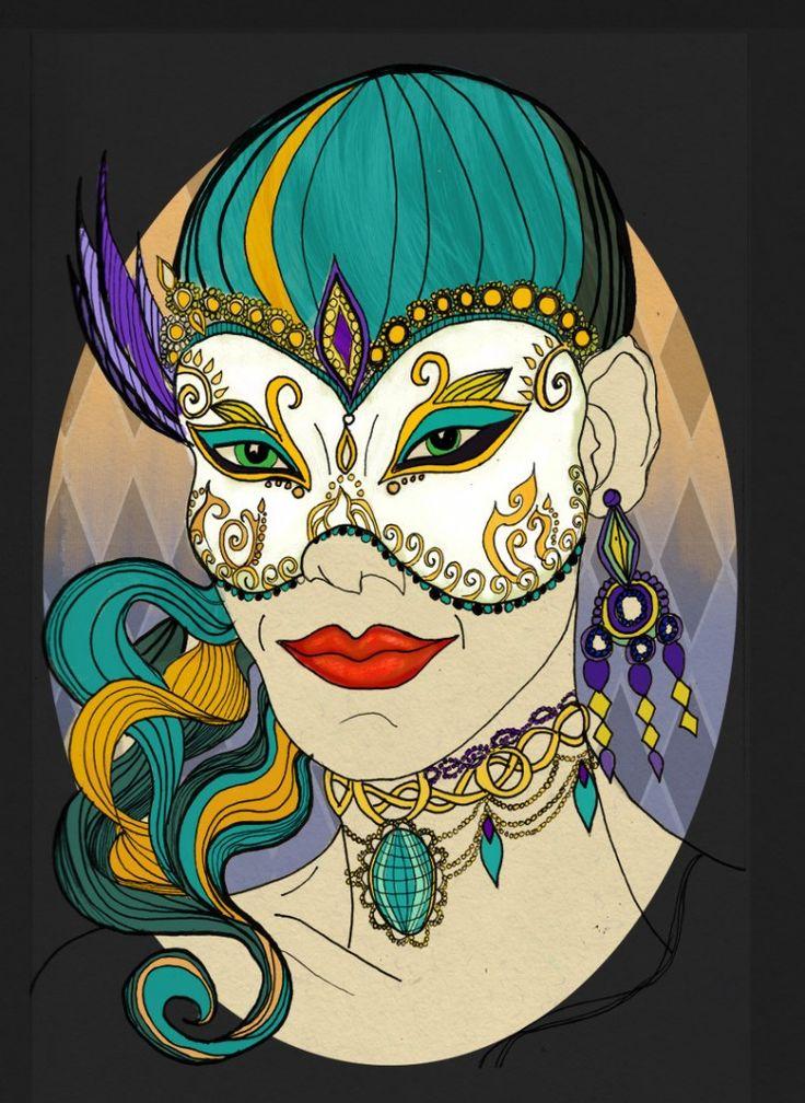 Masquarade ink and photoshop illustration.
