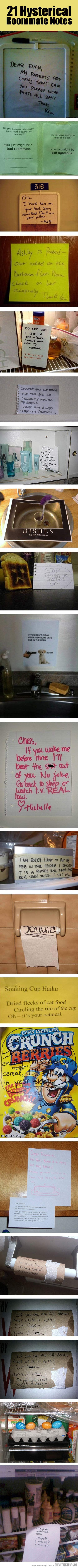 A collection of roommate notes…