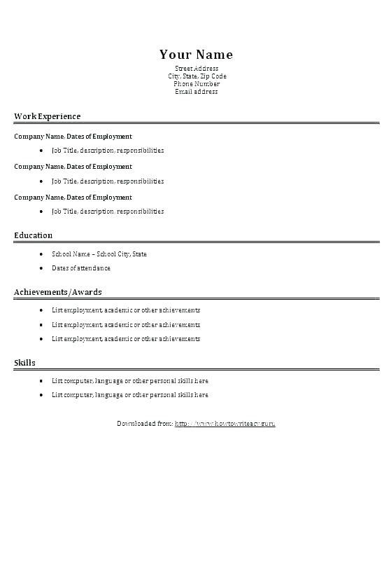 Basic Resume Form Easy Resume Template Basic Resume Template