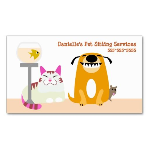 Pet Sitting Services Business Cards. This great business card design is available for customization. All text style, colors, sizes can be modified to fit your needs. Just click the image to learn more!